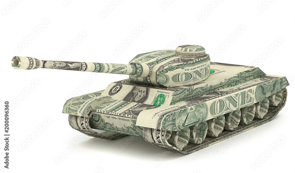 Fototapety, obrazy: Dollar Tank. Money origami. Tank made from American One dollar bill. War relation concept. 3D illustration