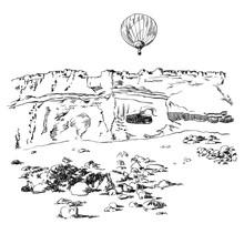 Mountains With A Air Balloon I...