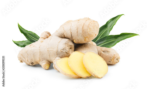 Obraz na plátně Ginger root isolated on white background