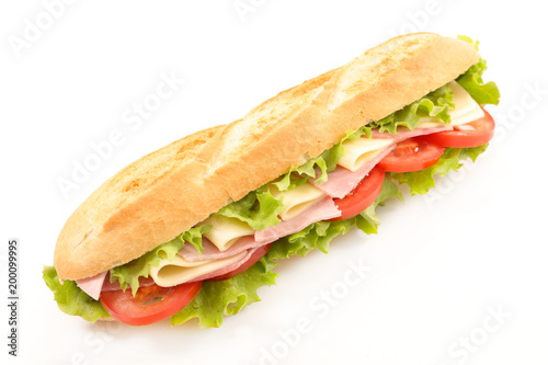 Staande foto Snack sandwich isolated on white background