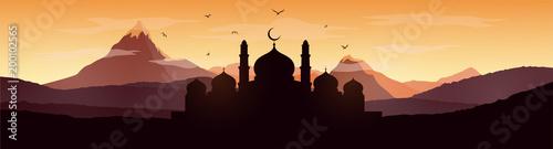 Ramadan Kareem Greeting Card With Mosque Wallpaper Mural