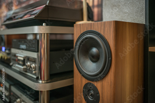 Home sound system  natural wood sound system Wallpaper Mural