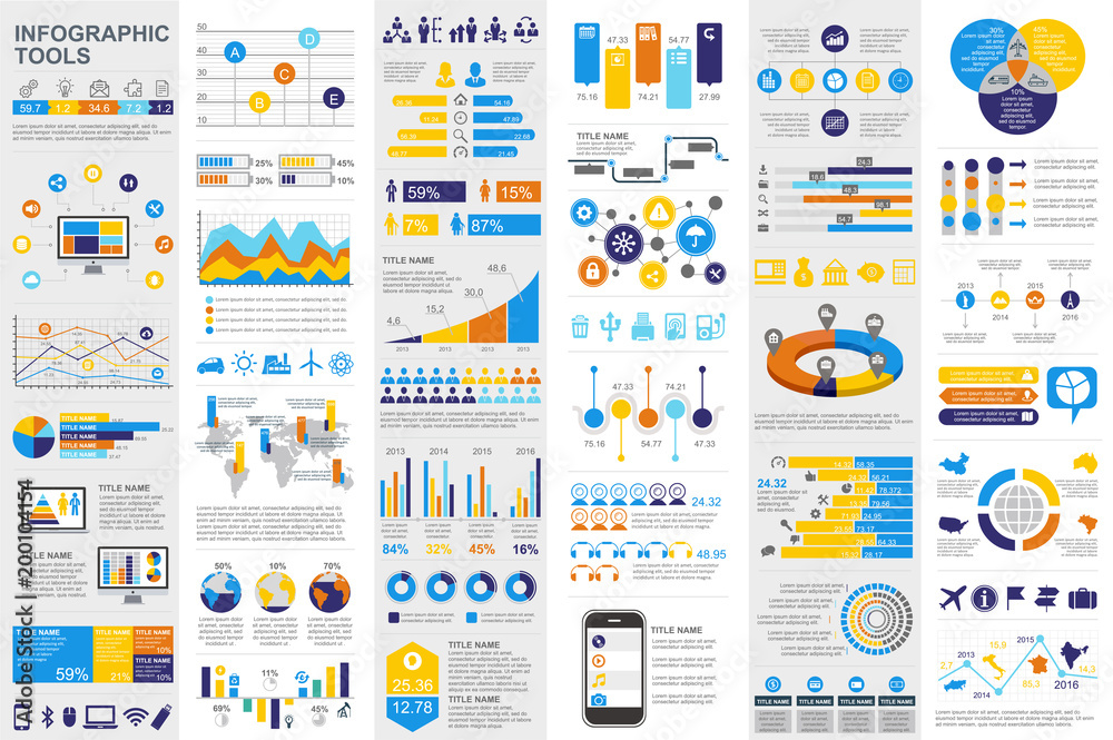 Fototapety, obrazy: Infographic elements data visualization vector
