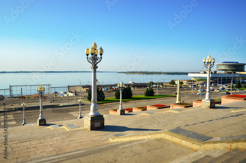 Papiers peints Piscine Volgograd, Russia, Central embankment, view of the Volga river and river station
