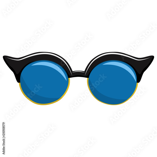 28ebae4647 Sunglasses in fashionable frame shaped butterfly. Vector cartoon icon  isolated on a white background.