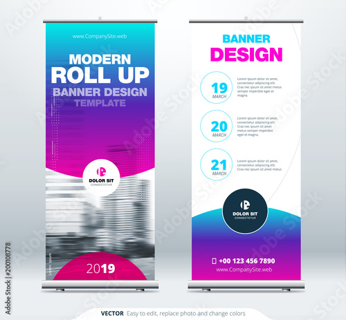 Roll Up banner stand presentation concept  Corporate business roll