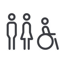 Gender Icon. Man And Woman Icon Isolated Minimal Design. Toilet Line Icon, Outline Vector Sign, Linear Style Pictogram Isolated On White. WC Symbol, Vector Logo Illustration.