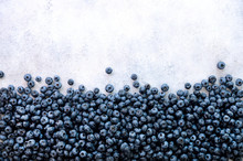 Fresh Blueberries Background With Copy Space For Your Text. Border Design. Summer, Vitamin, Vegan, Vegetarian Concept. Healthy Food. Texture Of Blueberry Berries Close Up.