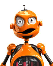 Funny And Glossy Robot Cartoon