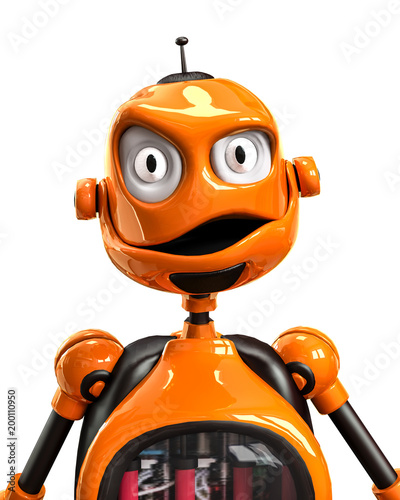 funny and glossy robot cartoon Canvas Print