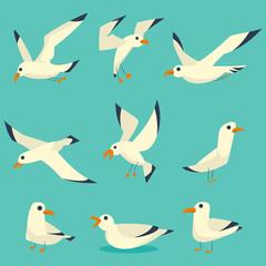Leteći, na vodi i stojeći galebovi crtani set. Vektorske ikone ravnih ptica izolirane na plavoj pozadini.
