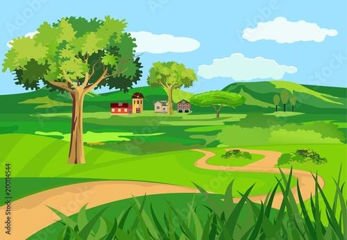 In de dag Lime groen Описание :Green hills, growing trees, little village among hills nature concept vector, natural vector landscape