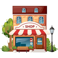 Shop Front View. City Design Elements. Cartoon Style Design. Store With Open Sign, Bench, Streetlight, Green Bushes And Trees. Vector Illustration On White Background
