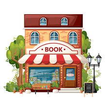 Book Shop Front View. City Design Elements. Cartoon Style Design. Book Store With Welcome Sign, Bench, Streetlight, Green Bushes And Trees. Vector Illustration On White Background