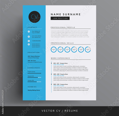 cv    resume design template blue color minimalist vector