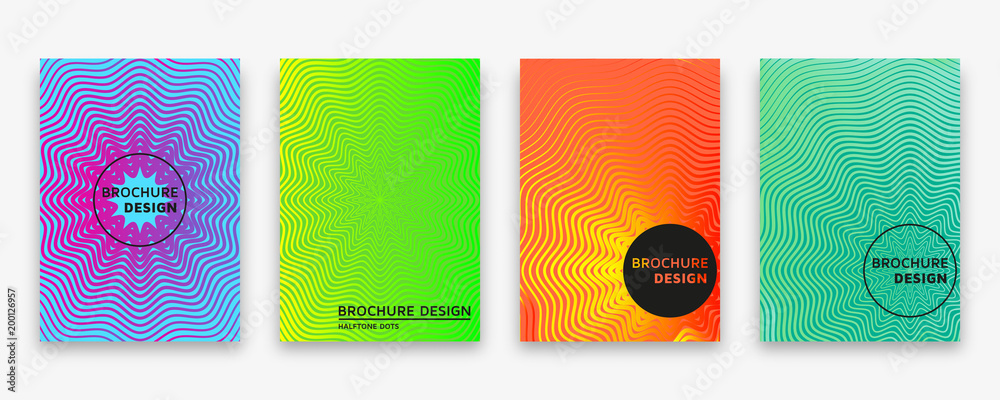 Fototapeta Brochure design with halftone wave lines and neon gradients. Vector illustration.