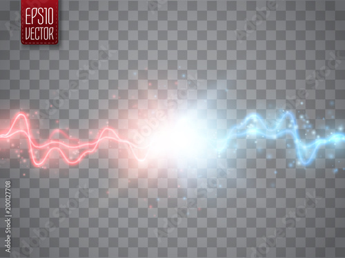 Obraz Collision of two forces with red and blue light. Vector versus concept. - fototapety do salonu