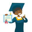 African-american graduate in graduation cloak and hat giving thumb up. Female graduate showing diploma. Concept of education. Vector cartoon illustration isolated on white background. Square layout.