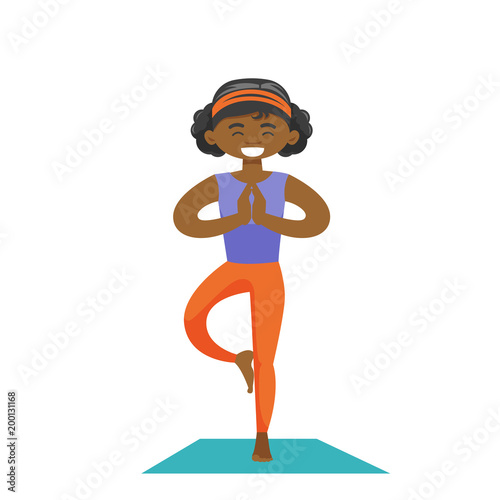 African American Sportswoman Meditating In Yoga Tree Position Young Happy Sporty Woman Standing In Yoga Tree Pose On The Mat Vector Cartoon Illustration Isolated On White Background Square Layout Buy This Stock Download and share yoga tree pose illustration, cartoon. african american sportswoman meditating