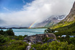 canvas print picture Rainbow in Torres del Paine National Park, Patagonia, Chile