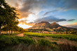 canvas print picture - Wine region near Stellenbosch looking at Simonsberg in South Africa
