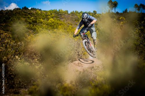 Cuadros en Lienzo  jumping mountain biker riding downhill