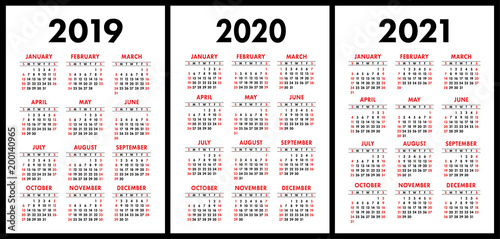 pocket calendar 2019 2020 2021 set basic simple template week starts on