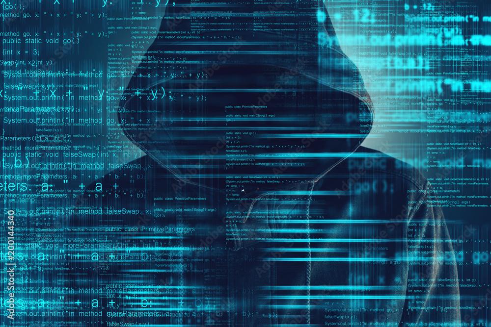 Fototapeta Cybersecurity, computer hacker with hoodie