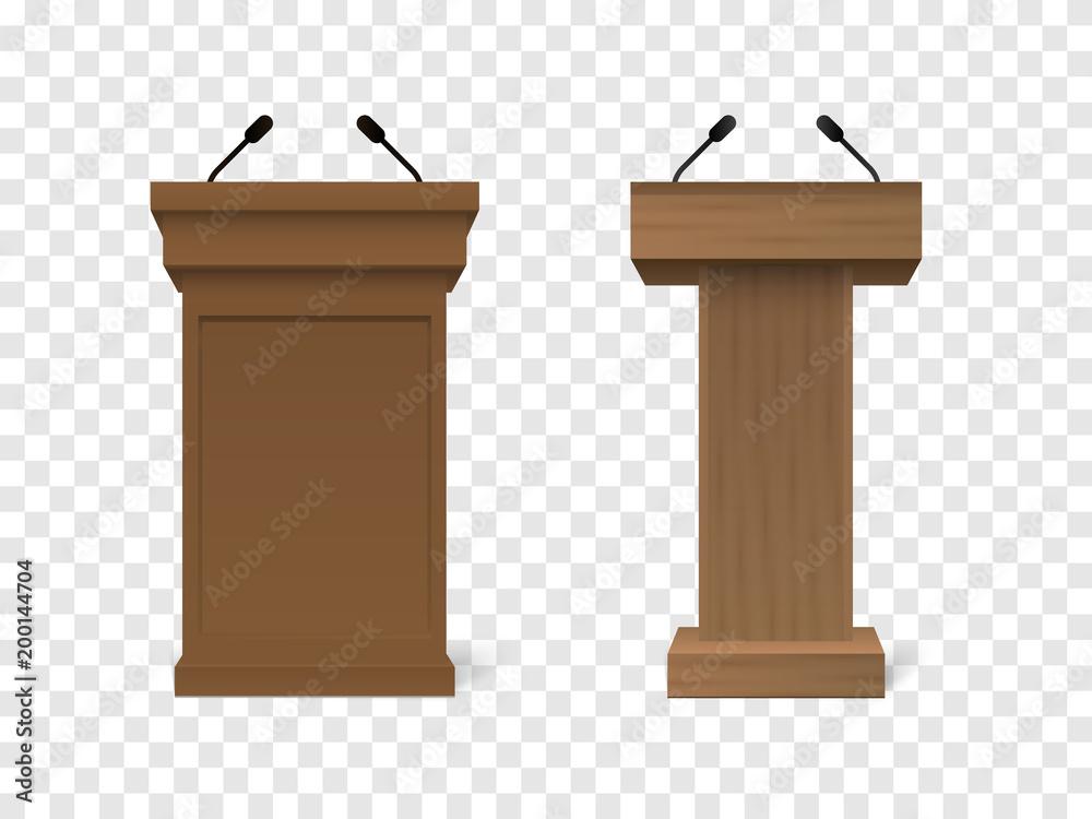 Fototapeta Set of Vector White Podium Tribune Rostrum Stand with Microphones Isolated