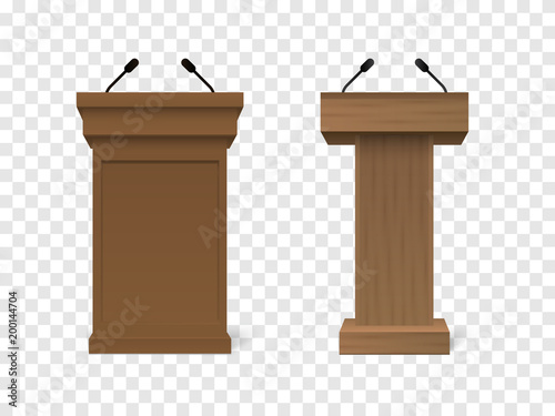 Obraz Set of Vector White Podium Tribune Rostrum Stand with Microphones Isolated - fototapety do salonu