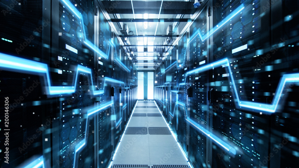 Fototapety, obrazy: Shot of Corridor in Working Data Center Full of Rack Servers and Supercomputers with High Danger Skull Icon Visualization.