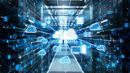 Strzał korytarza w działającym centrum danych pełnym serwerów rackowych i superkomputerów z pamięcią masową w chmurze Zalety Wizualizacja ikon.