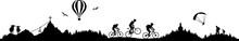 Silhouette Berge Radfahrer