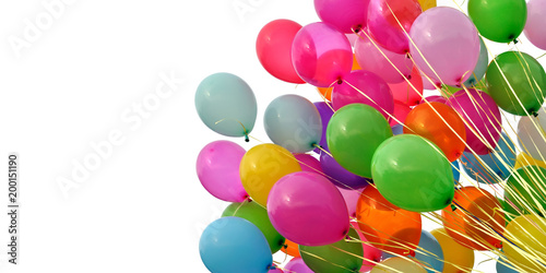 Fotografie, Obraz  group of multicolored balloons, isolated on white background