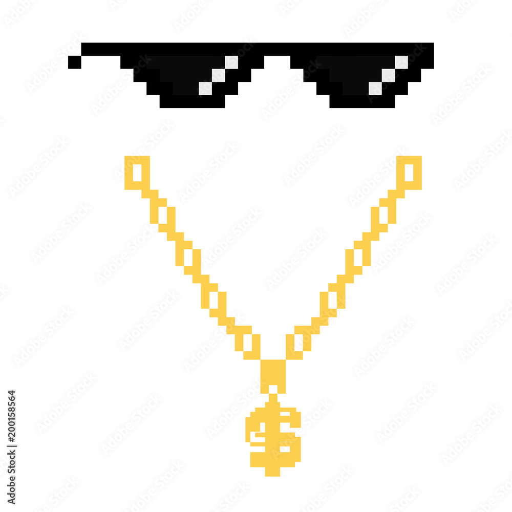 f622b8cd Photo & Art Print black thug life meme glasses in pixel art style |  Abposters.com