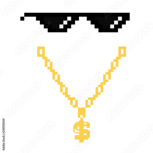 Fotografía black thug life meme glasses in pixel art style