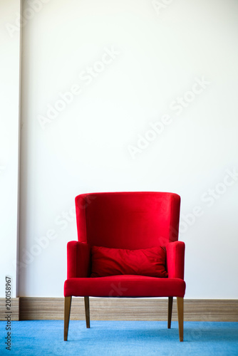 Fabulous Red Chair In White Wall Interior With Blue Wood Flooring Pabps2019 Chair Design Images Pabps2019Com