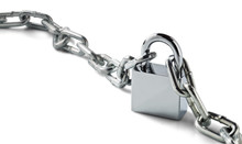 Chrome Metal Padlock, Chains On Isolated White Background With Shadows. Object For Protection And Safety Concept.