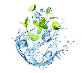 Water Splash With Mint Leaves, Ice Cubes And Slices Of Lime