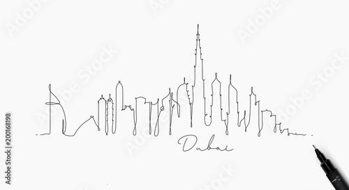 Fototapeta premium Dubaj sylwetka linii pióra