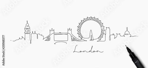Naklejka premium Linia pióra sylwetka Londynu