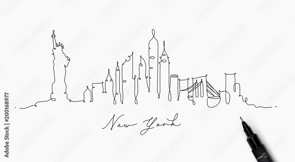 Fototapety, obrazy: Pen line silhouette new york