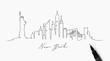 Pen line silhouette new york