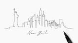 Fototapeta New York - Pen line silhouette new york
