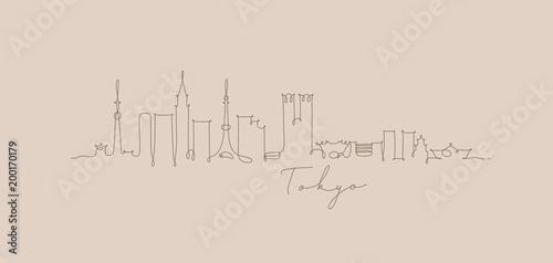 fototapeta na lodówkę Pen line silhouette tokyo beige