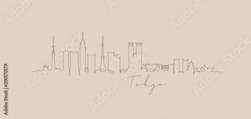 obraz dibond Pen line silhouette tokyo beige