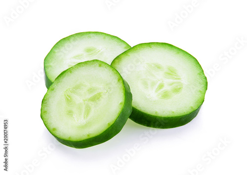 Fresh slice cucumber close-up on a white background