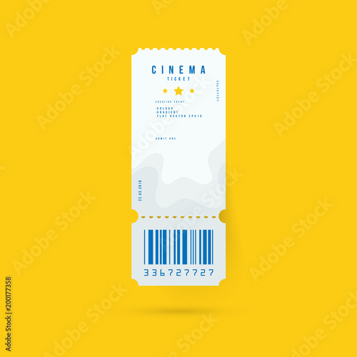 Cinema ticket realistic isolated on yellow background with shadow. Flat vector illustration EPS 10