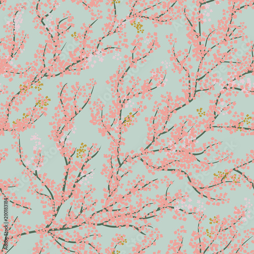 Background seamless pattern with sakura tree Fotobehang