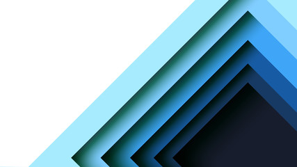 Abstract blue square geometric shape paper cut layer minimal background.Paper art style of cover design for business banner template and material design.Vector illustration.